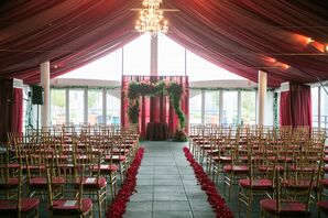 Red Fabric Ceremony Tent at Hudson Hotel