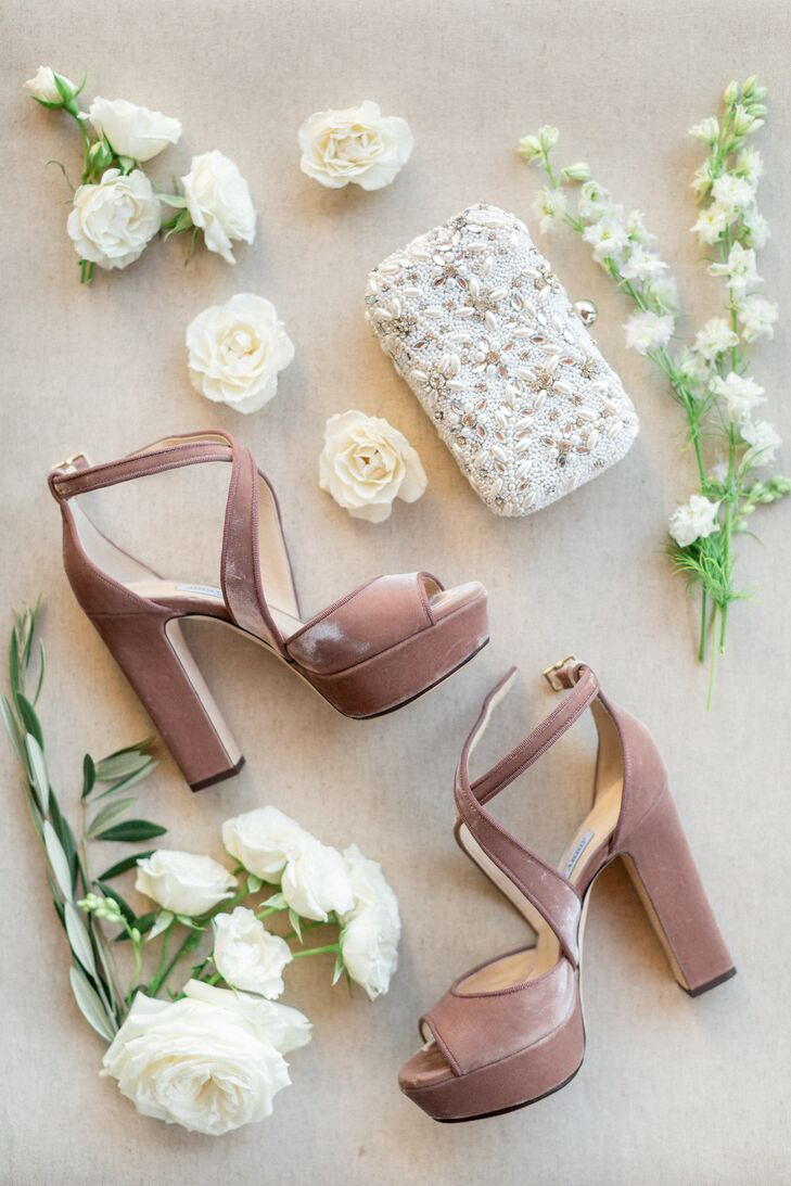 Platform Heels with Blush Velvet Fabric