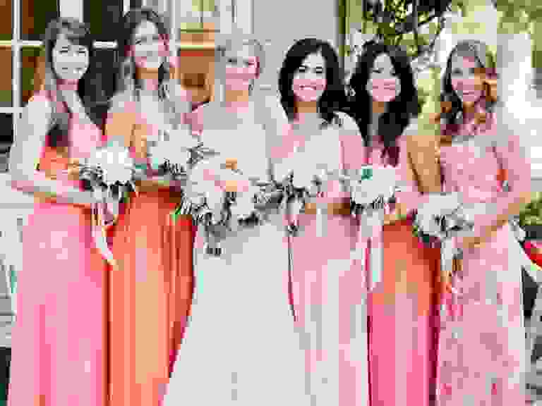 Living Coral Bridesmaid Dresses