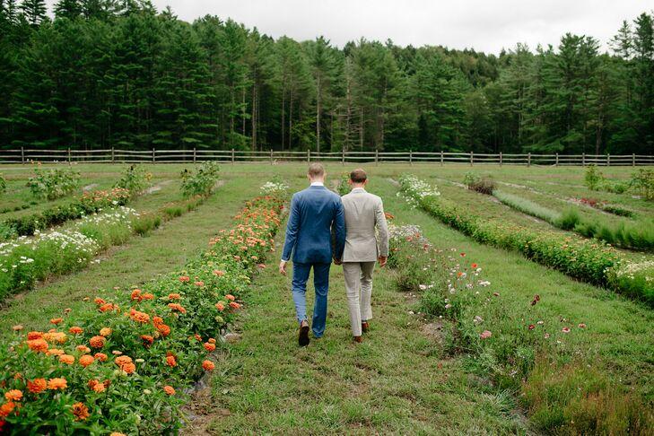 Same-Sex Couple Walking at Wedding in Stowe, Vermont