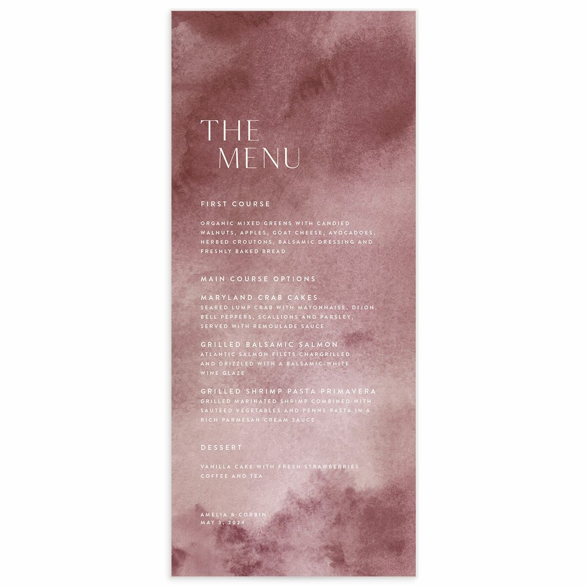 A Menu from the Elegant Ethereal Collection