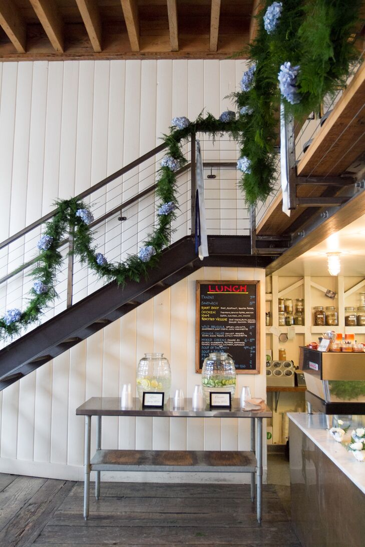 Garland-Decorated Industrial Staircase