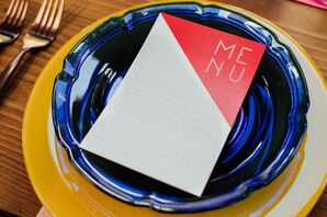 Modern Menus with Blue and Yellow Chargers