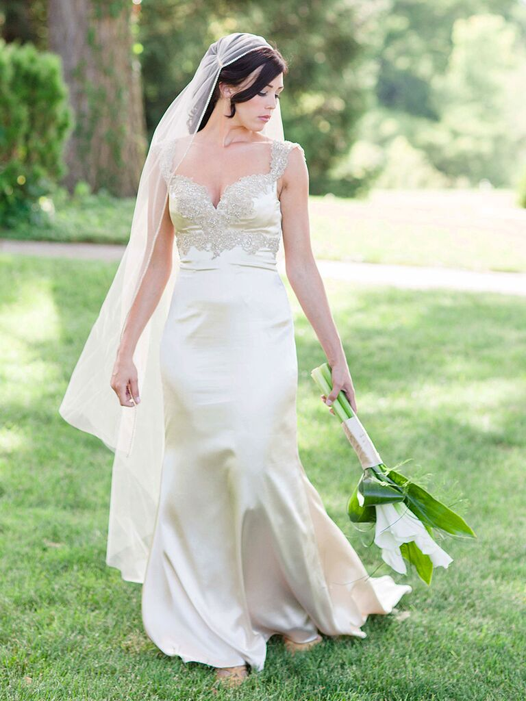 Form Fitting satin wedding gown by Maggie Sottero