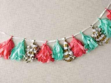 DIY tissue paper tassel garland wedding reception decor