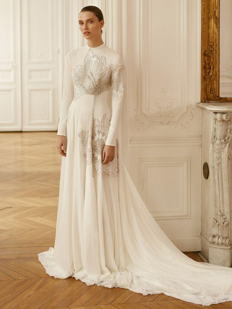 Dana Harel Spring 2020 Bridal Collection embellished long-sleeve high-neck wedding dress