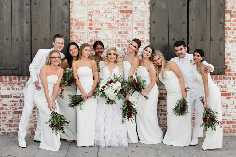 Wedding party in all-white outfits