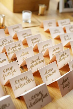 Blush Escort Cards with Gold Calligraphy