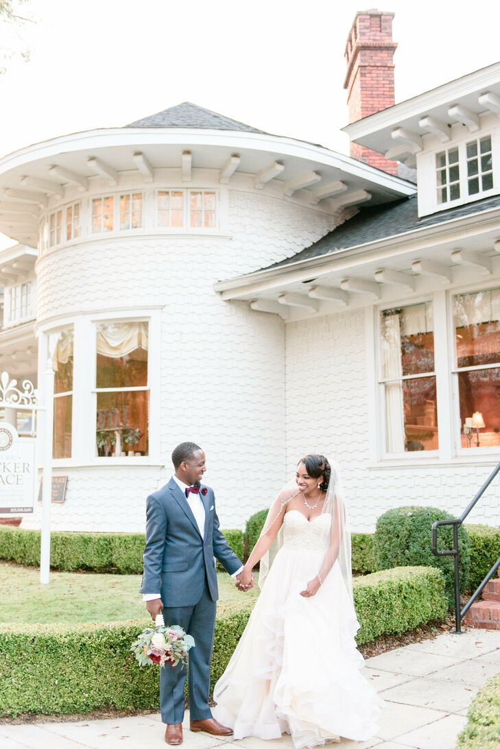 """The couple celebrated their nuptials at Rucker Place, a manor that overlooks downtown  Birmingham, Alabama. """"I wanted people who were visiting Birmingham to experience the Southern charm of our up-and-coming city,"""" Kimberlyn says."""