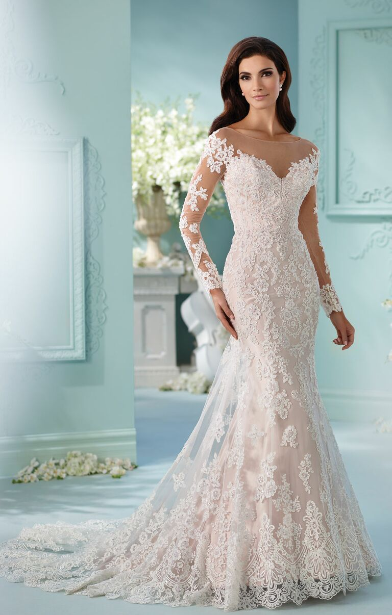 David Tutera Spring 2017 Illusion Long Sleeve Lace Mermaid Wedding Dress With Scoop Neck