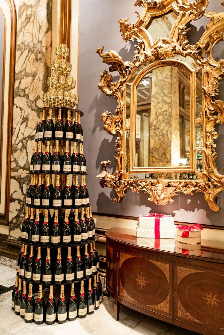 Glamorous Champagne Tower and Gold Decorations