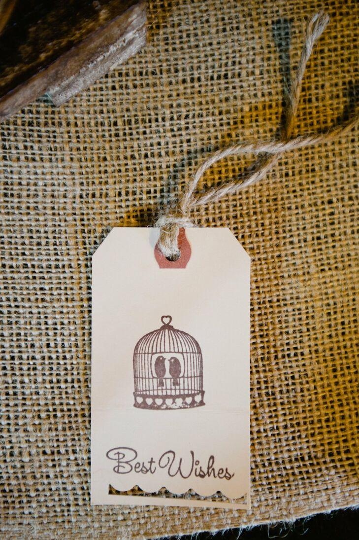 Stamped Birdcage Best Wishes Tag