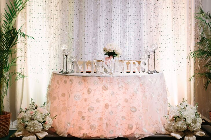 Laura and Alex were seated at a blush linen covered sweetheart table at the front of their dance floor during the reception.