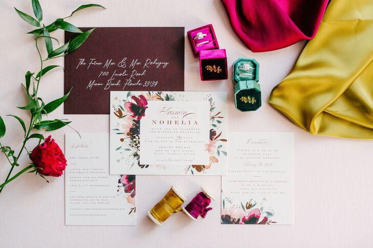 Jewel-Tone Invitation for Wedding in Miami, Florida