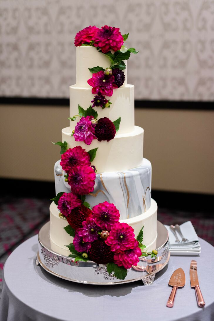Modern Tiered Fondant Cake with Red Flowers