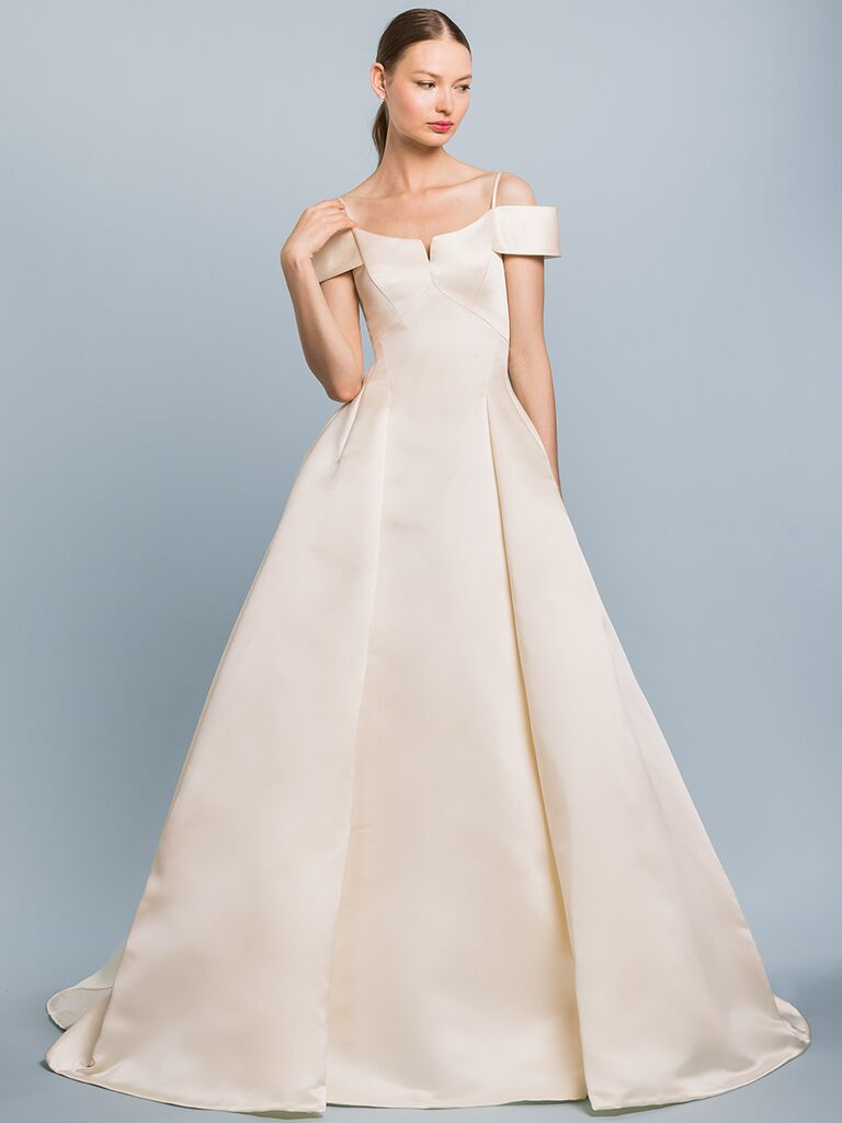 EDEM Demi Couture off-the-shoulder ballgown with spaghetti straps and V-neckline