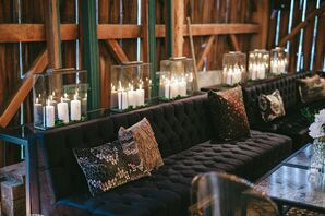 Modern Black Lounge Furniture and Printed Pillows