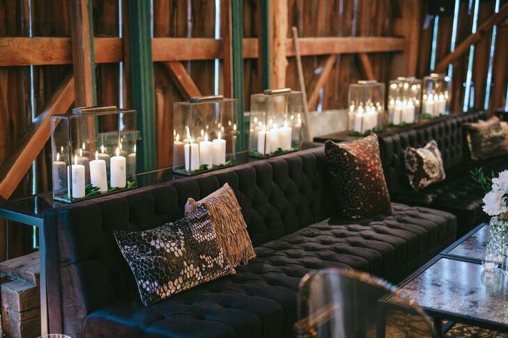 Modern Black Lounge Furniture and Printed Pillows