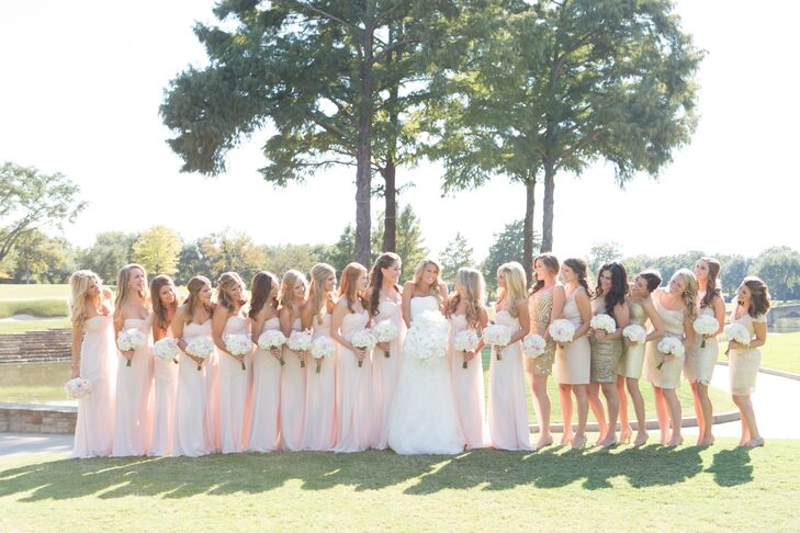 adfb8d2dd2d6 Blush and Gold Bridesmaid Dresses