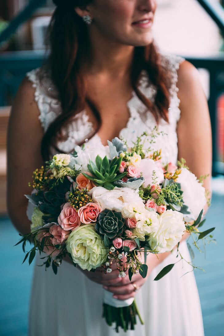Rustic Succulent and Peony Bridal Bouquet