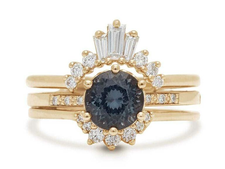 Gray spinel engagement ring with tiara-inspired diamond halo