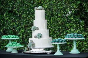 Round Tiered Cake with Succulents and Green Macarons