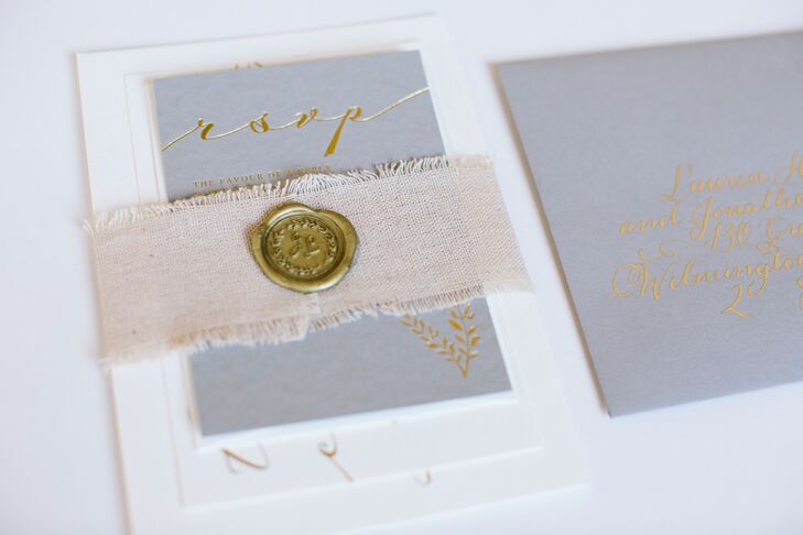 Gray and Gold Wedding Invitations with Linen Belly Band