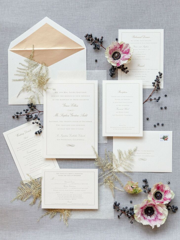 Formal White and Gold Wedding Invitations with Typography