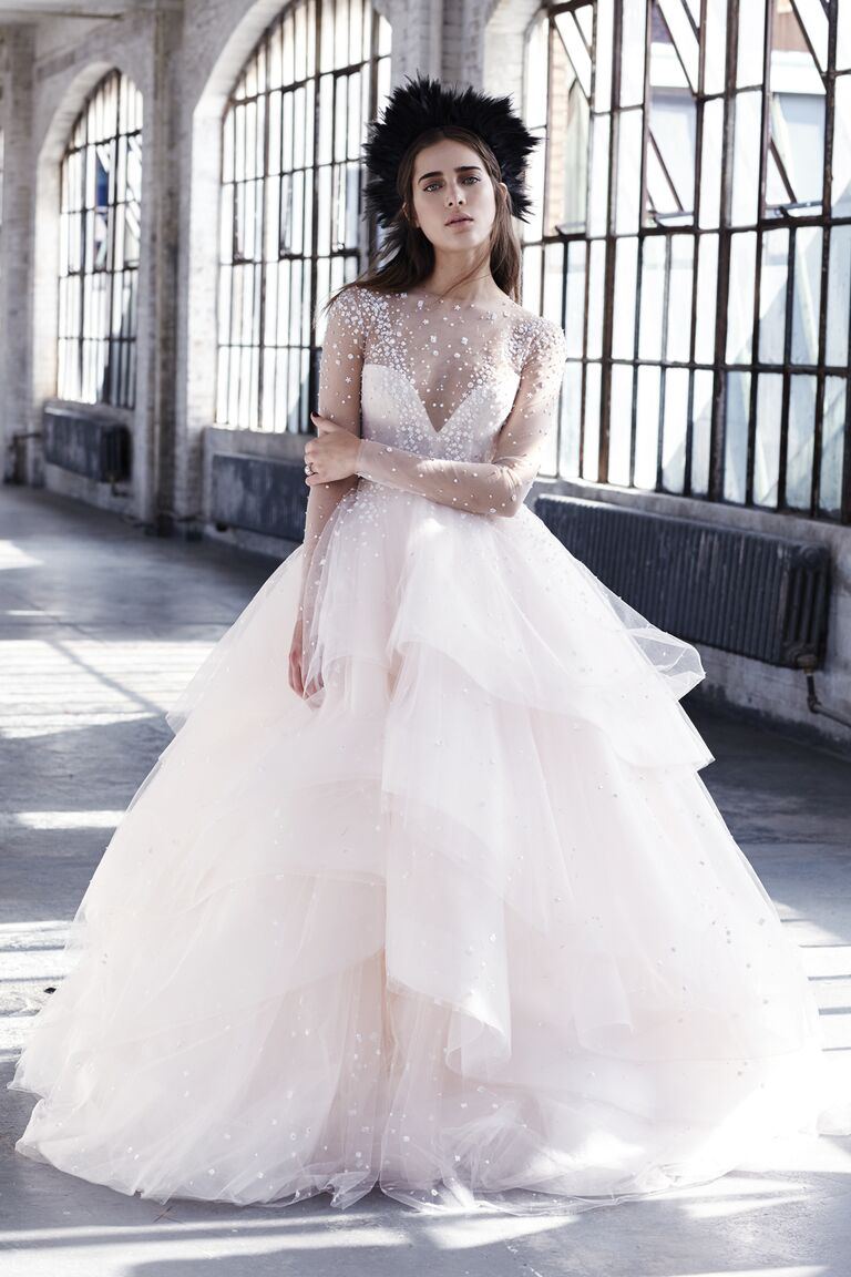 Full bridal ball gown with embroidered detailing