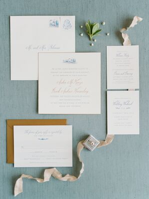 Simple Blue and Gold Wedding Invitations