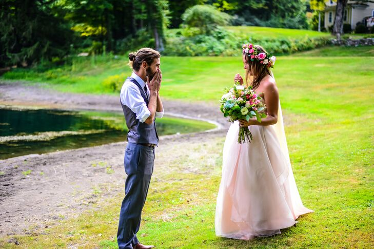 """""""My husband is not a suit and tie kind of guy and neither are his groomsmen, many of whom are mountain guides in Alaska and have never even owned a tie,"""" says Brianna. The couple tried to keep them comfortable but threw in the suspenders for fun."""