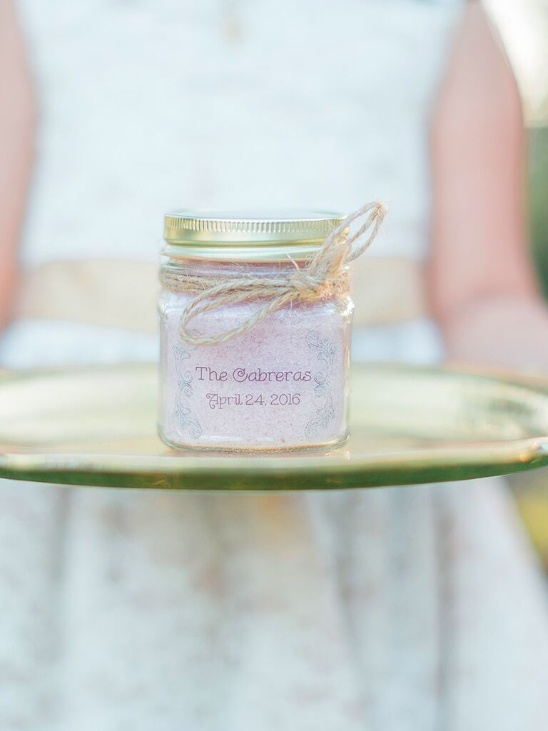DIY bath salt wedding favor
