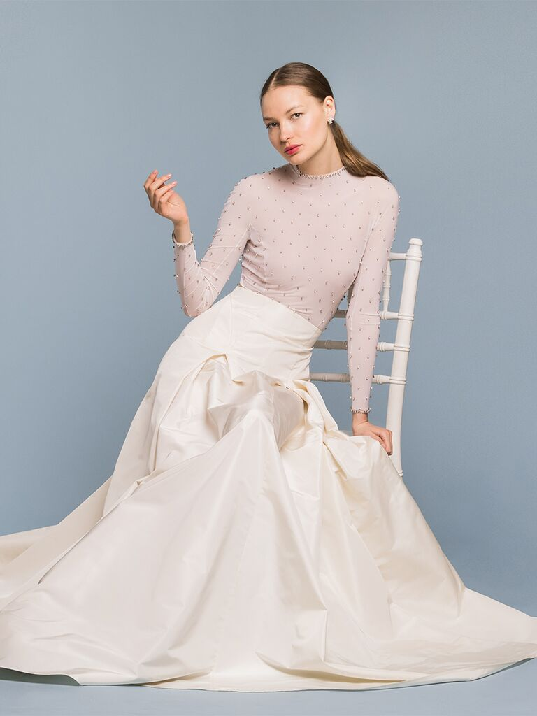EDEM Demi Couture dress with high-waisted skirt and sheer beaded bodice