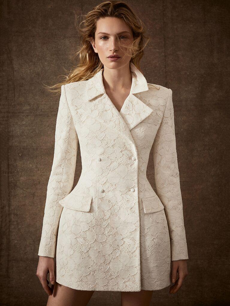 Danielle Frankel Spring 2020 Bridal Collection white lace tuxedo jacket wedding dress
