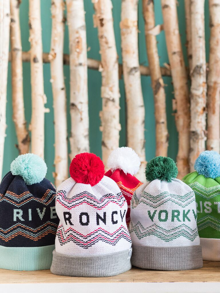 Cozy knit hats for winter wedding favors