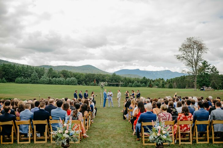 Same-Sex Wedding Ceremony in Field in Stowe, Vermont