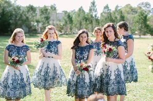 Midnight Blue and Ivory Lace Bridesmaid Dresses