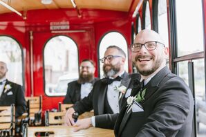 Classic Groom and Groomsmen on Red Tram