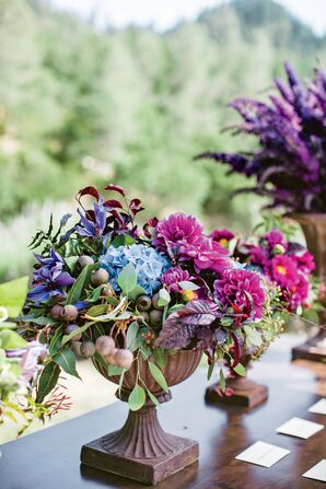 Fuchsia and Blue Flower Arrangment