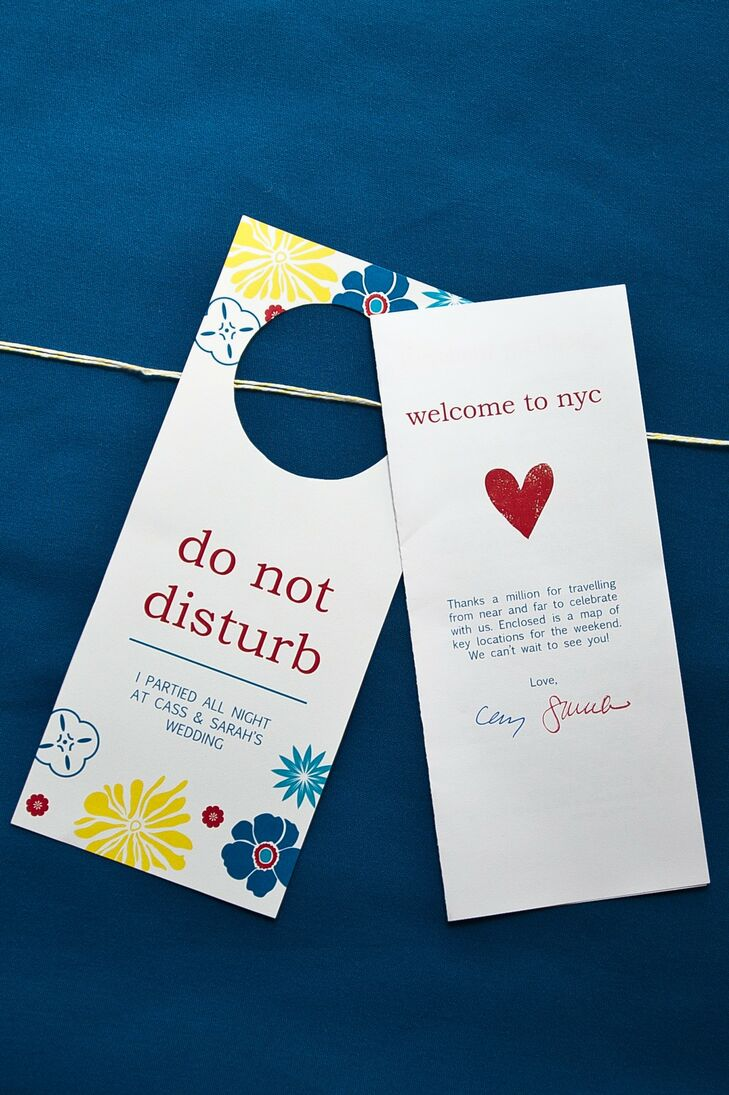 """Fun """"do not disturb"""" door hangers, along with welcome notes, were included in guests' bags."""