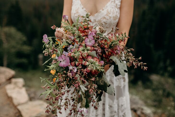 Bohemian Bouquet with Purple and Red Wildflowers