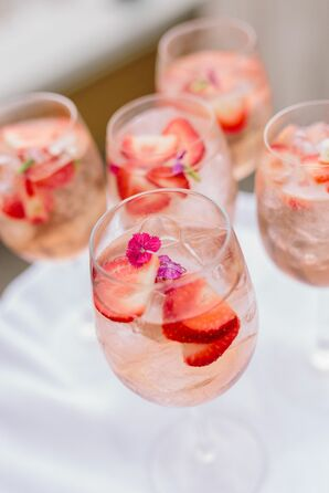 Romantic Pink Cocktails with Strawberries