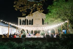 String Lights During Evening Reception at The William Aiken House in Charleston, South Carolina