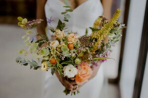 Orange-and-Yellow Bouquet at Brooklyn, New York, Elopement