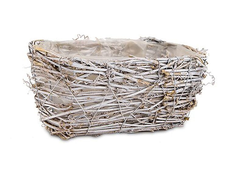 Wicker rustic wedding bathroom basket