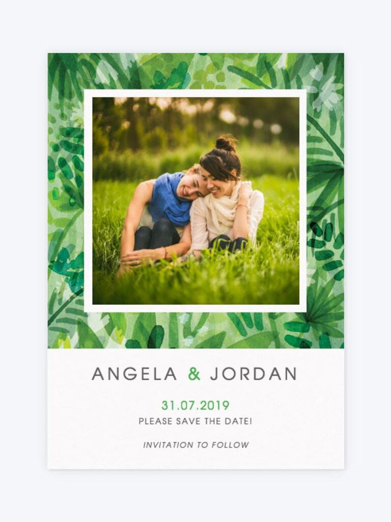 Papier jungle destination wedding save-the-date