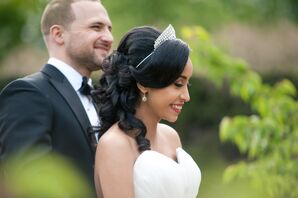Wedding Tiara and Half-Up Hairstyle