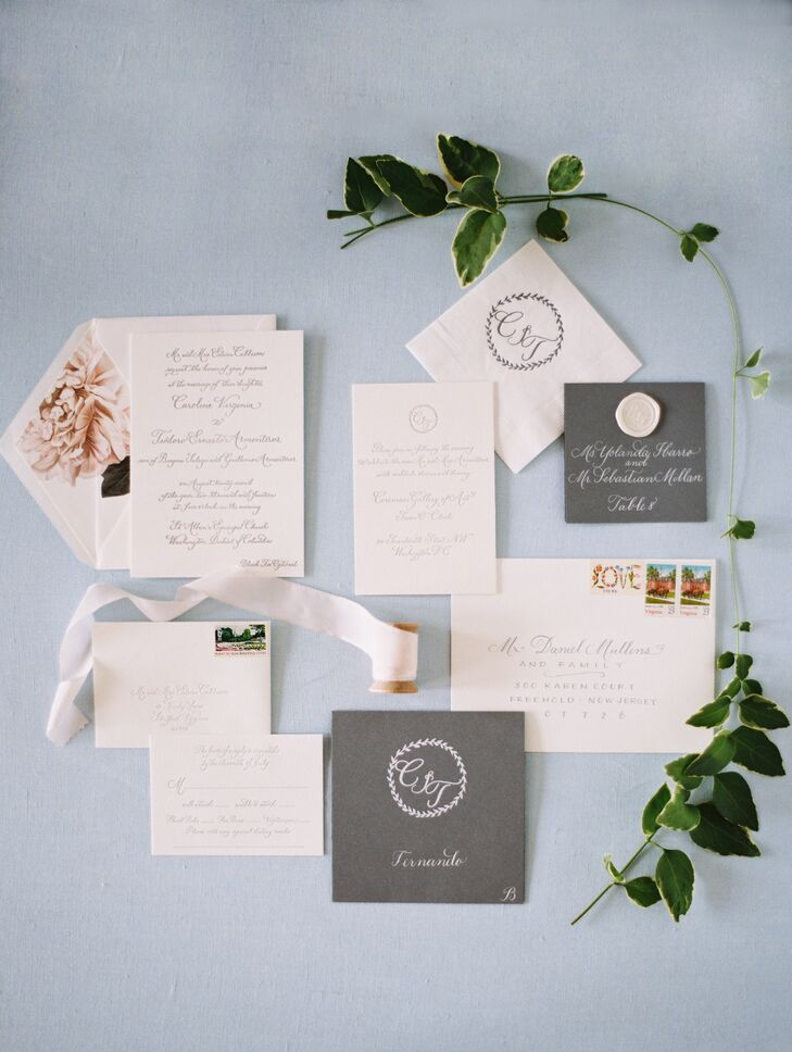 The couple's classic invites were hand-calligraphed on heavy cream-colored card stock with a custom monogram.