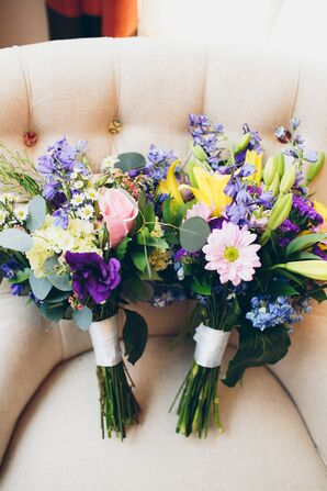 Complementary Bridal Bouquets With Yellow, Purple and Pink Blooms