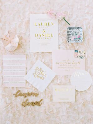 Blush and Gold Cootie Catcher Wedding Invitation Suite